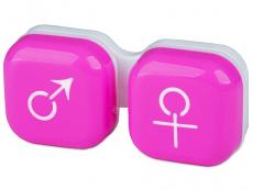 Pouzdro na čočky muž a žena - růžové