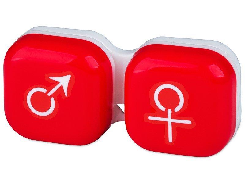 Pouzdro na čočky muž a žena - červené
