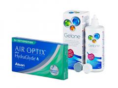 Air Optix plus HydraGlyde for Astigmatism (3 čočky) + roztok Gelone 360 ml